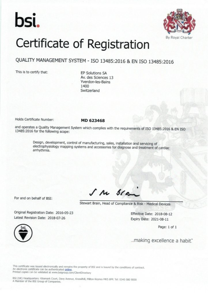 EP Solutions ISO 13485 Certificate